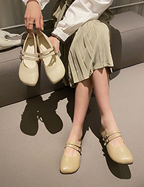 Fashion Apricot Double Buckle Flat Shallow Soft Sole Shoes