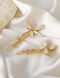 Fashion Small Pearl And Diamond Flower Alloy Geometric Hairpin
