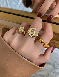 Fashion Line Embossed Alloy Hollow Line Open Ring
