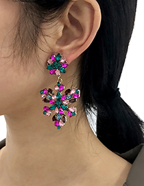 Fashion Champagne Alloy Diamond Flower Earrings