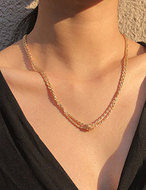 Fashion Gold Color Alloy Chain Knotted Multilayer Necklace