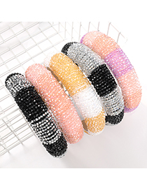 Fashion Black And Silver Color Two-color Stitching Acrylic Wide-side Sponge Beaded Headband