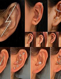 Fashion Lightning Gold Color Diamond-studded Lightning Leaf Geometric Piercing Ear Slash Earrings