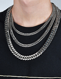 Fashion Steel Color 1.6*20cm Stainless Steel Thick Chain Bracelet