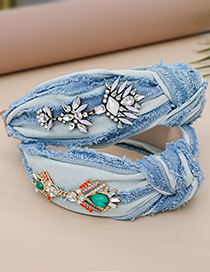 Fashion Color Denim Hairband Hairband With Alloy Diamond Geometric Knotted Headband