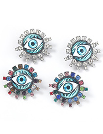 Fashion Color Alloy Diamond Resin Eye Sun Flower Earrings
