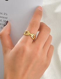 Fashion Steel Color 304 Stainless Steel 14k Gold O Word Open Ring