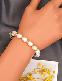 Fashion Pink Colorful Rice Beads Pearl Beaded Bracelet