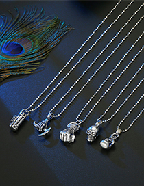 Fashion Postbox Skull Fist And Sickle Necklace