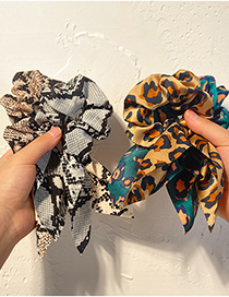 Fashion Snakeskin Brown Fabric Leopard Print Streamer Snake Skin Print Large Intestine Hair Tie