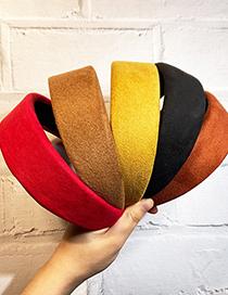 Fashion Red Super Wide-edged Brushed Suede Sponge Headband