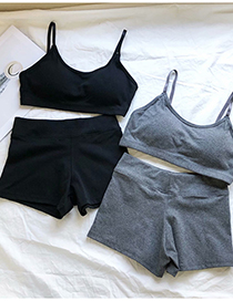 Fashion Black Slim Vest + Shorts Set