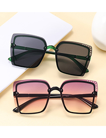 Fashion Bright Black And Gray Flakes Hollow Square Frameless Concave Shape Sunscreen Sunglasses