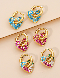 Fashion Red Copper And Diamond Love Ear Studs