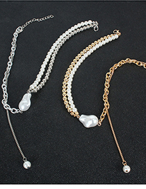 Fashion Silver Double Pearl Necklace