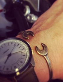 Fashion Steel Color Metal Mechanical Tool Wrench Open Bracelet