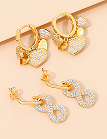 Fashion Golden Alloy Diamond Heart Earrings
