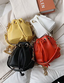 Fashion White Drawstring Crossbody Chain Shoulder Bag
