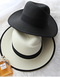 Fashion Black Black And White Edging Straw Sun Hat