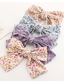 Fashion Purple Sewing Floral Big Bow Hairpin