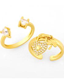 Fashion A Clover Heart Open Ring