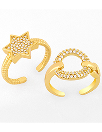 Fashion A Diamond Open Five-pointed Star Ring
