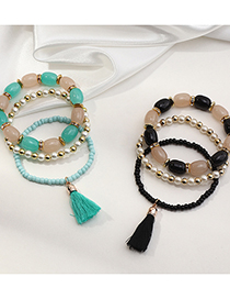 Fashion Black Candy Color Rice Beads Pearl Tassel Multilayer Elastic Bracelet