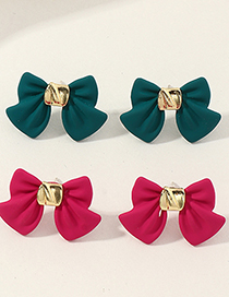 Fashion Red Lacquered Bow Earrings