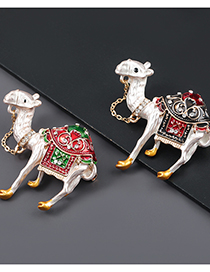 Fashion Red Green Alloy Drop Oil Diamond Camel Brooch