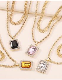 Fashion Yellow Double-layer Square Diamond Chain Necklace