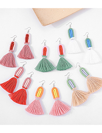 Fashion White Cotton Tassel Multicolor Long Earrings
