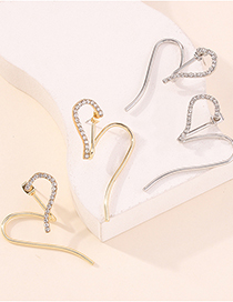 Fashion Golden Love Diamond Heart-shaped Stud Earrings