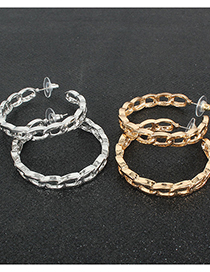 Fashion Golden Alloy C-shaped Circle Earrings
