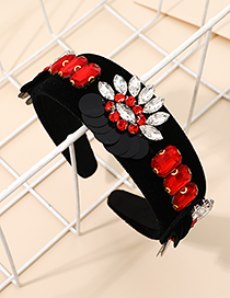 Fashion Red Fabric Alloy Diamond-studded Sequin Headband