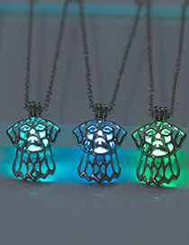 Fashion Blue-green Hollow Dog Head Luminous Openable Necklace