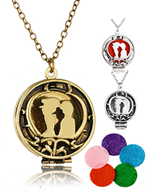 Fashion Ancient Bronze + 5 Cotton Pieces Aromatherapy Photo Box Openable Necklace