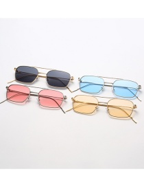 Fashion Gold Frame Champagne Square Ocean Sheet Metal Frame Double Beam Sunglasses