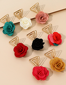 Fashion Color Alloy Hollow Triangle Flower Earrings