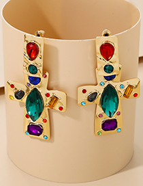 Fashion Color Alloy Embossed Diamond Cross Earrings