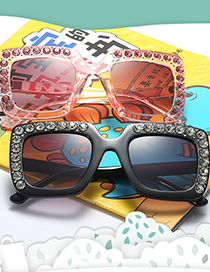 Fashion Violet/tea Fades To Gray Childrens Glasses With Diamond-encrusted Square Frame