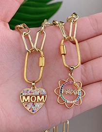 Fashion Golden Copper Inlaid Zircon Thick Chain Letter Mom Love Necklace
