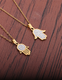 Fashion Section 1 Stainless Steel Diamond Palm Necklace