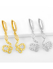 Fashion Gold Color Animal Snake Earrings With Diamonds