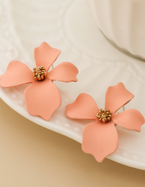 Fashion Pink Alloy Painted Flower Earrings