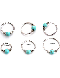Fashion Blue 6mm Piercing Turquoise Winding Stainless Steel Nose Nail