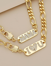 Fashion Golden Copper Inlaid Zircon Letters Love Thick Chain Necklace