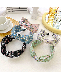 Fashion White Floral Small Floral Fabric Cross-knotted Headband