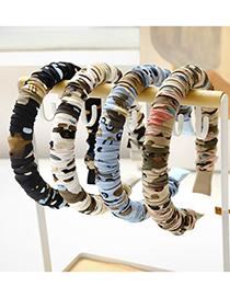 Fashion Black Printed Fabric Pleated Sponge Headband