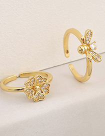 Fashion B (bee) Copper Micro-inlaid Bee Flower Ring