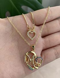 Fashion Golden Copper Inlaid Zircon Letters Mama Love Necklace